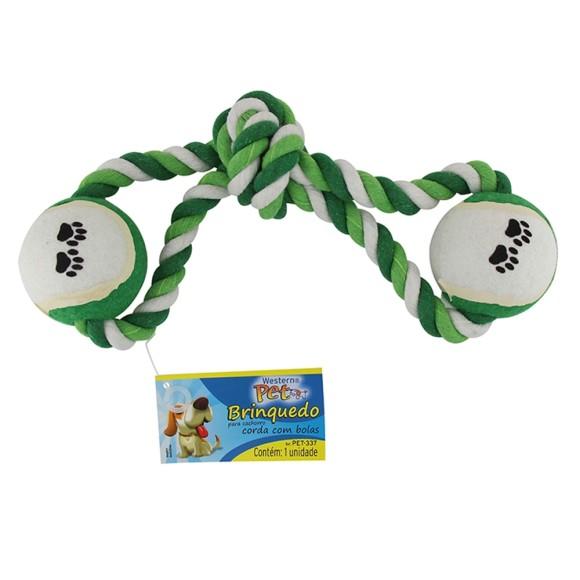Brinquedo Pet Mordedor para Cachorro Bola com Corda Western Pet - 337