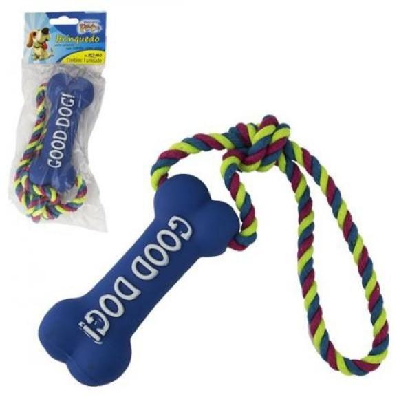 Brinquedo para cachorro corda com osso com som Good Dog