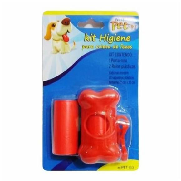 Kit Higiene Pet para Coleta de Fezes Jogo Contendo 1 Porta Rolos e 2 Rolos Plásticos