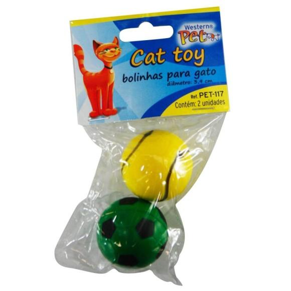 Bolinhas para gato Cat Toy 2 Peças Western Pet 117 - Kit com 2 peças