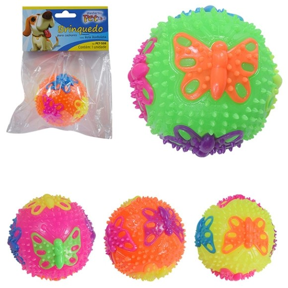 Brinquedo Pet Bola Borboleta com Apito e Luz Led Western Pet-508